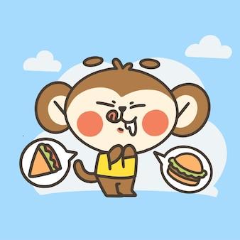 Divertente piccola scimmia affamata ragazzo doodle illustrazione