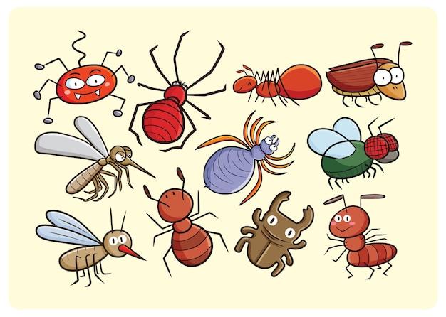 Divertente collezione di insetti in stile cartone animato
