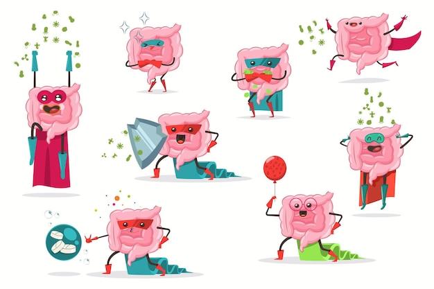 Set di caratteri piatto del fumetto di vettore intestino divertente in costume da supereroe. intestino carino con probiotici, batteri buoni e cattivi illustrazione isolato su uno sfondo bianco.