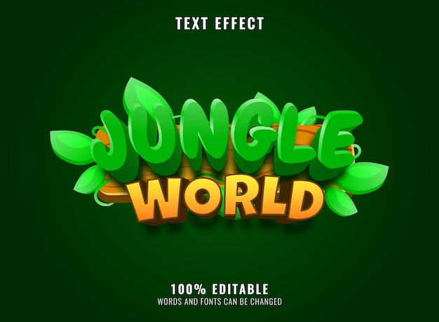 Divertente logo del gioco del mondo della giungla con effetto testo modificabile con cornice in legno