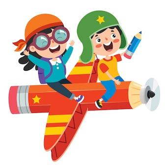 Bambino divertente che vola sulla matita colorata