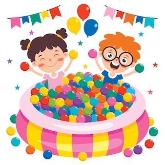 Bambino divertente che gioca con le palline colorate Vettore Premium