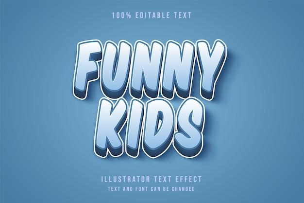 Bambini divertenti, 3d testo modificabile effetto blu gradazione testo stile