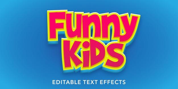 Bambini divertenti effetti di testo modificabili