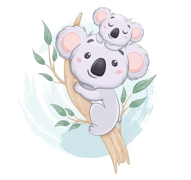 Koala divertente con il suo bambino su un albero di eucalipto simpatici personaggi dei cartoni animati