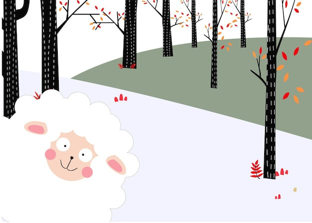 Pecore di agnello divertenti nella foresta