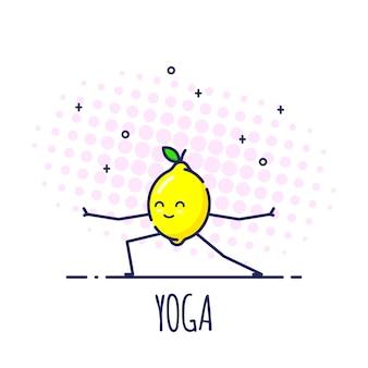 Carattere divertente del limone in piedi nella posa del guerriero virabhadrasana. corsi di yoga.