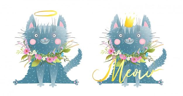 Piccolo gatto o gattino divertente che dice meow kids style