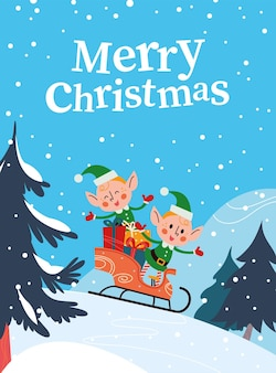 Simpatici personaggi di elfi di babbo natale con scatole regalo che slittino nella foresta invernale. piatto del fumetto di vettore. per biglietti di natale, poster, cartelloni, striscioni, adesivi, etichette, imballaggi, ecc.