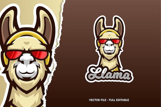 Funny llama wear glasses e-sports game logo template