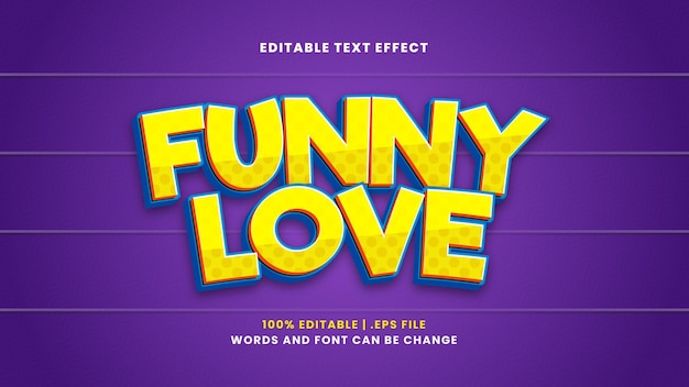 Effetto di testo modificabile amore divertente in stile 3d moderno