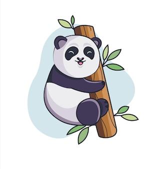 Panda adorabile divertente si arrampica sul bambù. orso bianco e nero per biglietti d'auguri di design, annuncio zoo, stampa di moda, adesivi, inviti, concetto di natura, libro per bambini. animale nella vita selvaggia. illustrazione di vettore. Vettore Premium