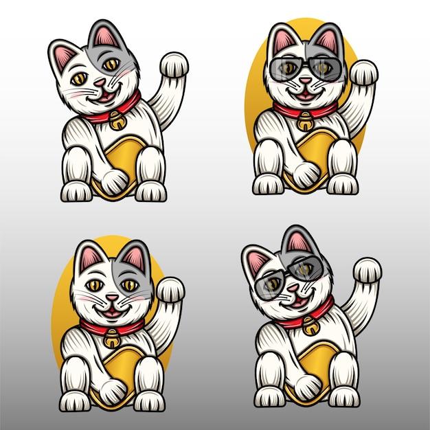 Illustrazione stabilita del gatto fortunato divertente.