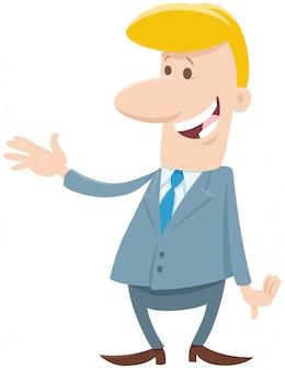 Personaggio dei cartoni animati divertente dell'uomo d'affari o dell'uomo