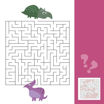 Labirinto divertente per i bambini. aiuta il dinosauro a trovare un amico. collezione di giochi per l'apprendimento dei bambini.
