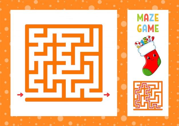 Labirinto divertente gioco per bambini. puzzle per bambini. carattere felice. labirinto enigma. illustrazione vettoriale di colore.