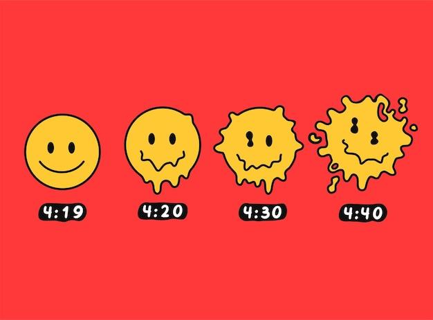 Divertenti facce sorridenti che si sciolgono. 4:20 marijuana, erba, stampa di cannabis per poster, t-shirt, card. illustrazione del personaggio dei cartoni animati di doodle disegnato a mano di vettore. isolato su sfondo bianco