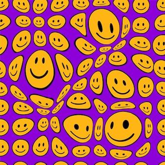 Sorriso divertente fusione affronta il reticolo senza giunte. illustrazione del personaggio dei cartoni animati di doodle disegnato a mano di vettore. i volti sorridenti si sciolgono, l'acido, il concetto di stampa della carta da parati senza cuciture trippy