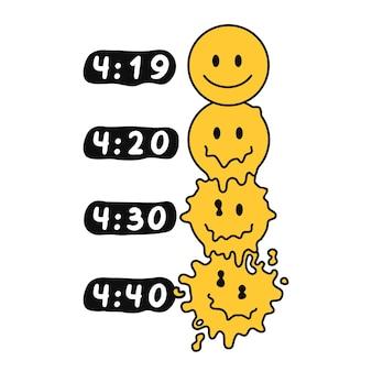 Divertenti facce sorridenti che si sciolgono