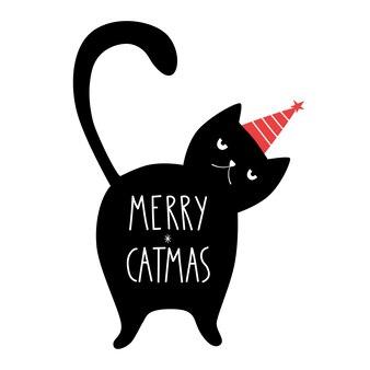 Divertente gatto nero di buon natale con scritta merry catmas doodle in stile cartone animato