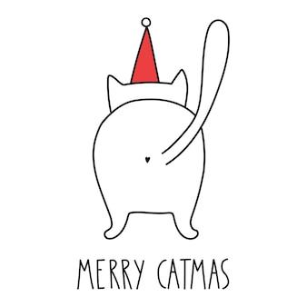 Divertente gatto di buon natale con scritta merry catmas doodle in stile cartone animato