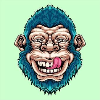 Testa di scimmia divertente