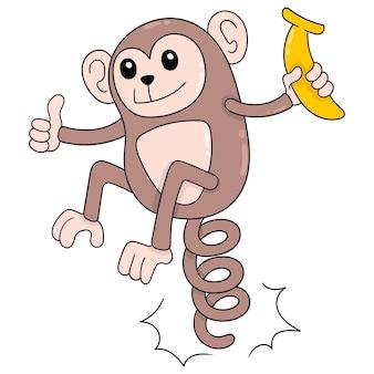 Le scimmie divertenti stanno saltando felicemente con le banane da mangiare, arte dell'illustrazione di vettore scarabocchiare icona immagine kawaii.