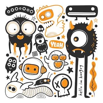 Vettore di doodle disegnato a mano mostro divertente