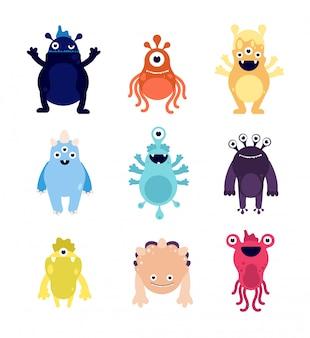 Mostri divertenti. cute baby mostro alieni bizzarri avatar. gli animali affamati pazzi di halloween hanno isolato i caratteri di vettore del fumetto