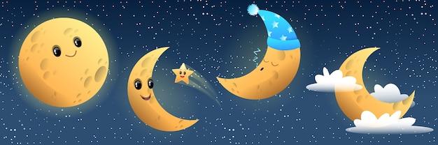 Collezione luna divertente, sorridente, dormiente