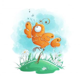 L'uccello arancione divertente rimbalza e canta in una radura. carattere