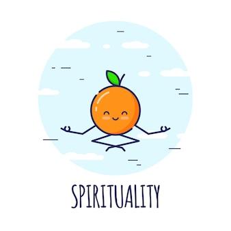Divertente personaggio arancione meditando in lotos pose padmasana. corsi di yoga.