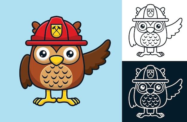 Gufo divertente che indossa il casco del pompiere. illustrazione del fumetto di vettore nello stile dell'icona piana