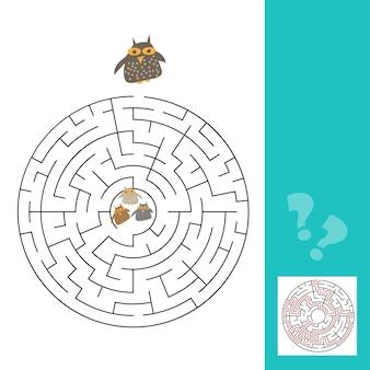 Divertente gioco del labirinto di gufi per bambini in età prescolare con risposta