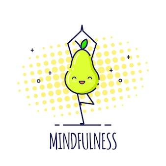 Carattere divertente della pera che sta nella posa dell'albero vrikshasana. corsi di yoga.