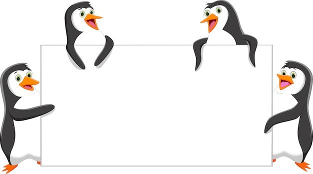 Cartone animato divertente pinguino con un segno in bianco