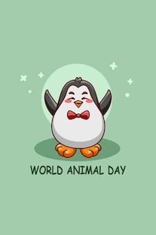 Pinguino divertente con cuore nell'illustrazione del fumetto della giornata mondiale degli animali