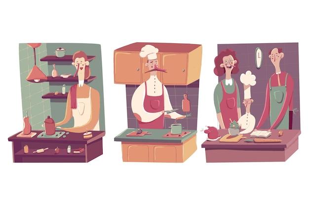 Gente divertente che cucina sull'illustrazione di concetto del fumetto della cucina isolata su un fondo bianco.