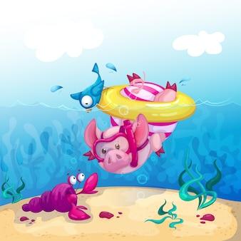Un maiale divertente si tuffa nel mare e osserva il cancro marino.