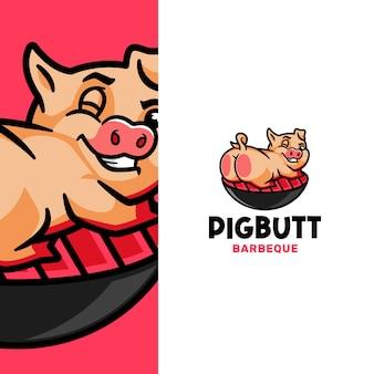 Maiale divertente che mostra il modello di logo del barbecue di culo