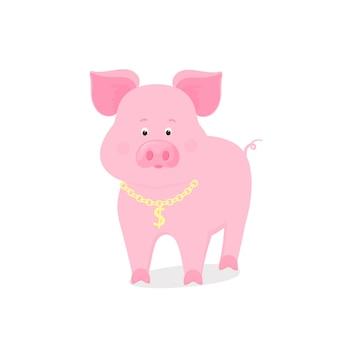 Divertente simbolo piggy del capodanno cinese 2019. maiale carino con una catena d'oro e un'icona del dollaro.