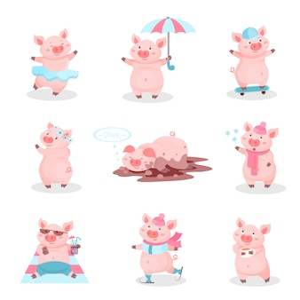 Insieme divertente di attività dei maiali, personaggi dei cartoni animati svegli dei porcellini nelle situazioni differenti illustrazione su un fondo bianco
