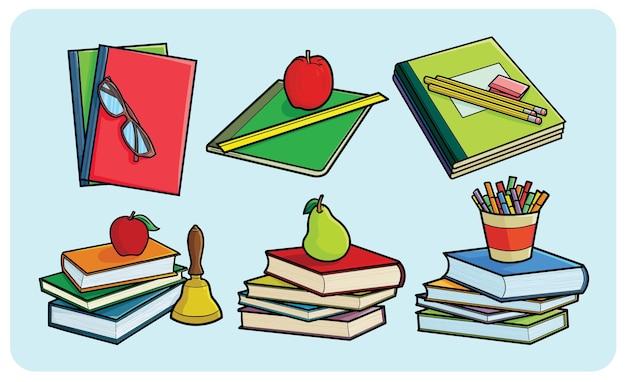 Divertente pila di libri in stile cartone animato