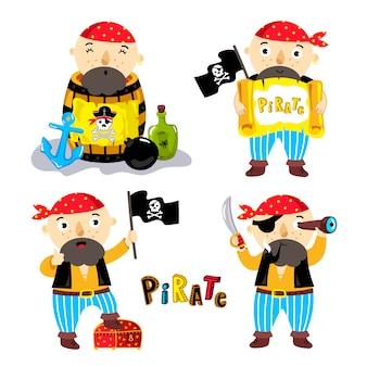 Elementi divertenti pirata isolati