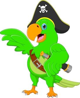 Cartone animato divertente pappagallo pirata isolato su sfondo bianco