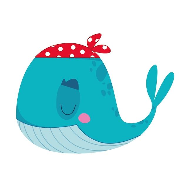Divertente balena pirata con una bandana rossa illustrazione vettoriale di un personaggio in un cartone animato