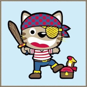 Pirata divertente con il vettore del fumetto del tesoro