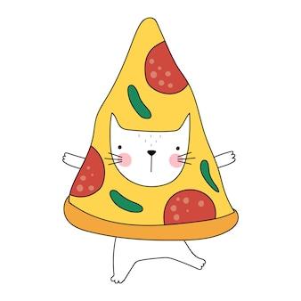 Gatto divertente della pizza gatto simpatico cartone animato oggetto isolato su sfondo bianco buono per le magliette dei poster