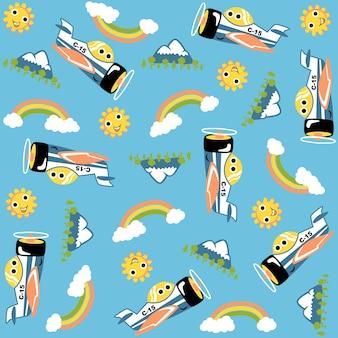 Fumetto dell'aereo divertente, sole, montagna, arcobaleno, nuvola, sul vettore del modello