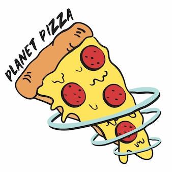 Fetta di pizza divertente pianeta